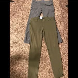 2 pair large jeggings - green and grey